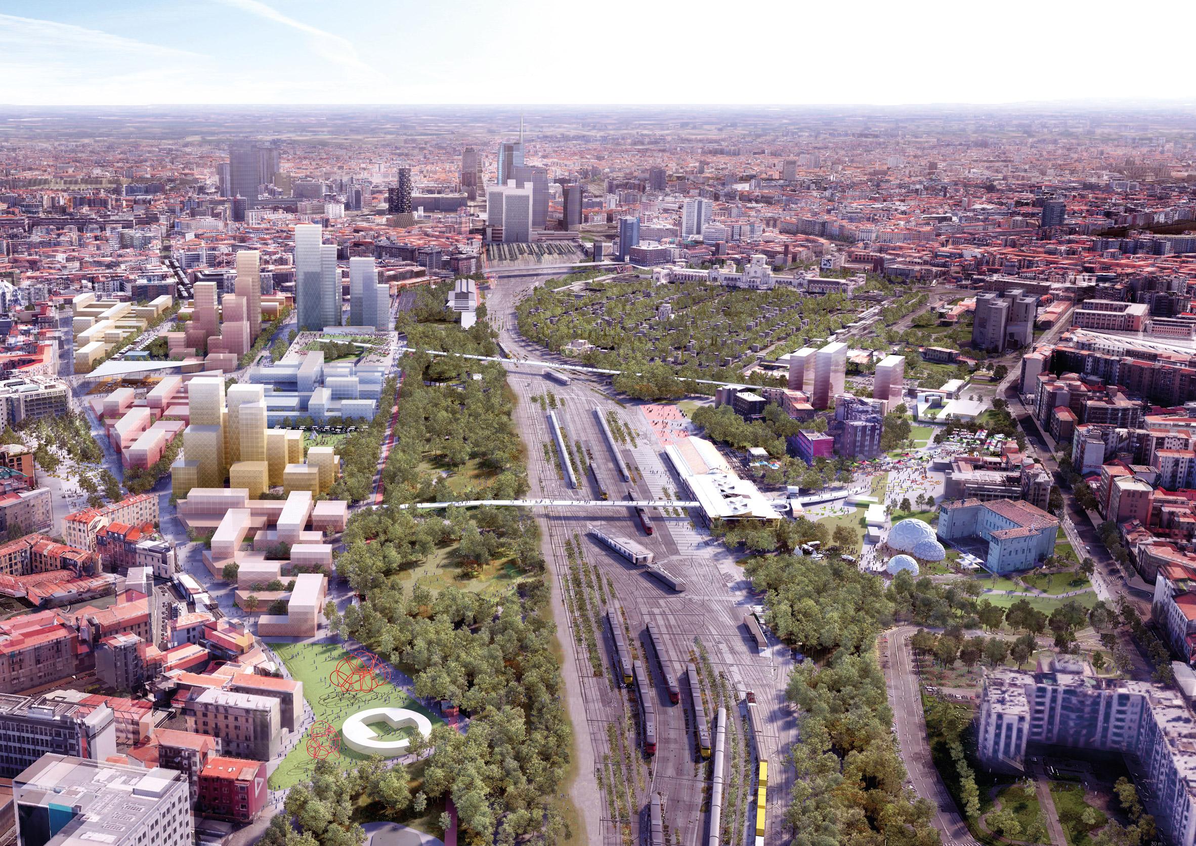 The Scalo Farini goods yard in the Agenti Climatici masterplan for Milan by OMA and Laboratorio Permanente