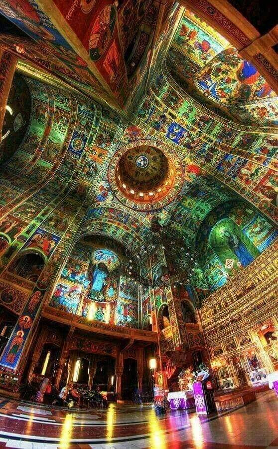 Interior of an Orthodox Church in Bucharest, Romania